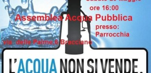 Bracciano: domani 23 Maggio l'assemblea pubblica per dire no ad Acea