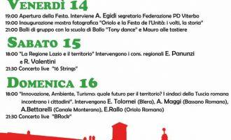 Festa del L'Unità A Oriolo Romano,14-15-16 luglio 2017 – 36° edizione