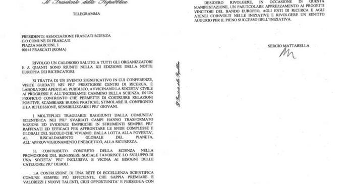 Notte europea dei ricercatori 2017: il messaggio del Presidente della Repubblica Sergio Mattarella