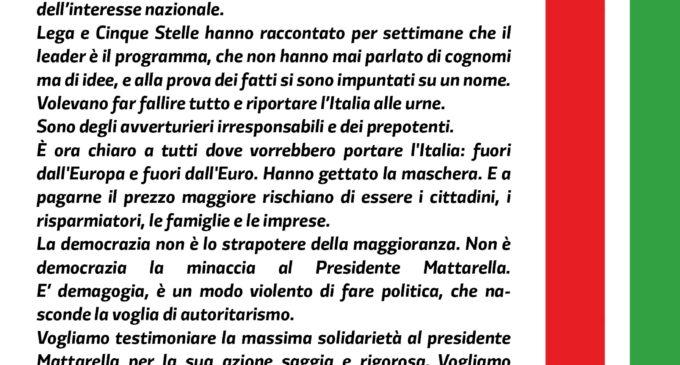 Crisi istituzionale, il PD dalla parte del Presidente della Repubblica