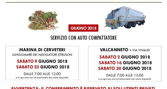 Campo di Mare e Valcanneto, il calendario di giugno dell'auto-compattatore per sfalci e potature