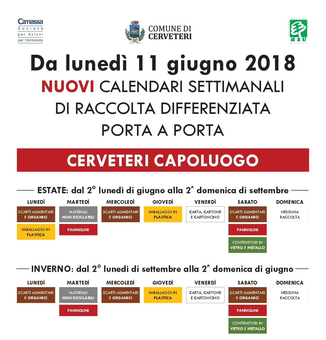 Calendario Raccolta Differenziata Cerveteri.Cerveteri Raccolta Differenziata Da Lunedi In Vigore Il