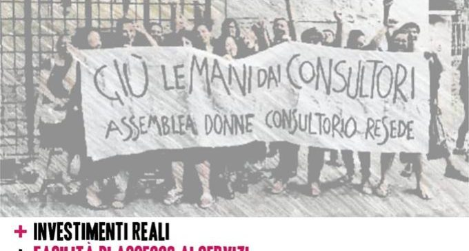 """Presidio """"Tutte in piazza per i consultori""""  Roma, 1 Febbraio 2019  ore 10:00 P.zza Oderico da Pordenone"""