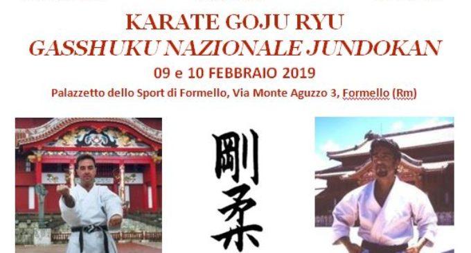 KARATE GOJU RYU  GASSHUKU NAZIONALE JUNDOKAN   09 e 10 FEBBRAIO 2019  Palazzetto dello Sport di Formello