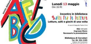 """Cerveteri: il 13 maggio in Biblioteca, appuntamento per bambini con """"Salti fra le Lettere"""""""