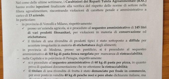 Comando Carabinieri (Rac): Controlli sul territorio a tutela della sicurezza alimentare – eseguiti numerosi sequestri