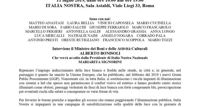 Com. stampa: Italia Nostra Lazio aderisce a Luci e Paesaggi: l'11 luglio Giornata diRiflessione sulla qualità della pubblica illuminazione