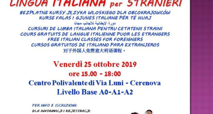 Cerenova, ripartono i Corsi gratuiti di italiano per stranieri