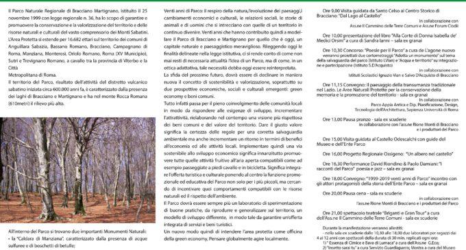 """XX Anniversario del Parco Bracciano – Martignano: Il """"Libro, La Poesia, I Cortometraggi"""" –  23 novembre"""