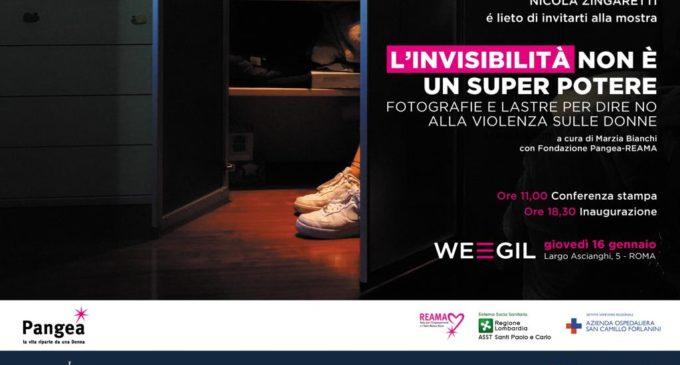 """Roma: """"L'INVISIBILITÀ NON È UN SUPERPOTERE"""" Fotografie e lastre per dire no alla violenza sulle donne ore 18:30"""