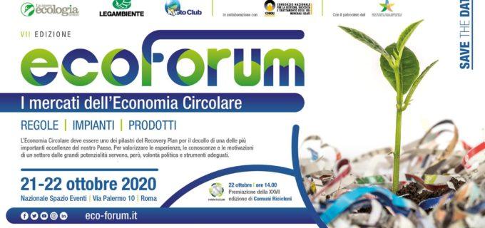 Al via la VII edizione della Conferenza Nazionale EcoForum, il 21/22 ottobre