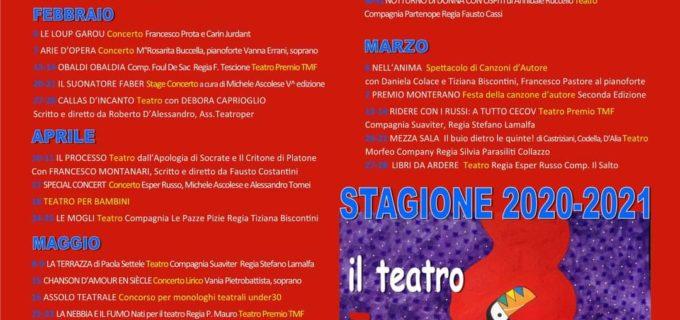 Teatro Canale Monterano, programmazione spettacoli stagione 2020/2021
