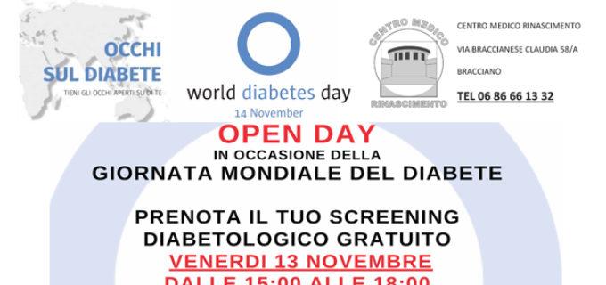 """Centro medico Rinascimento, ancora una iniziativa: """"open day"""" su diabete, 13 Novembre 2020"""